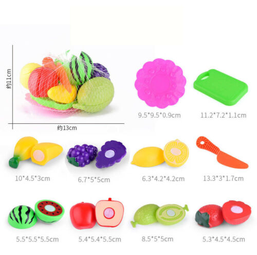 Kids Pretend Role Play Kitchen Fruit Vegetable Food Toy Cutting Set Best Gifts
