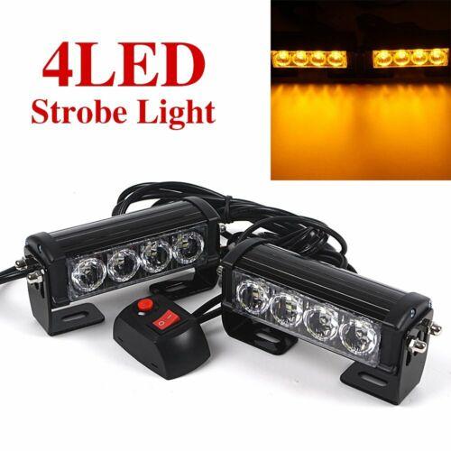 Pair 12V LED Strobe Flash Grille Light Hazard Emergency Car Yellow