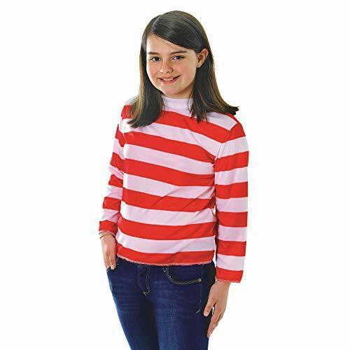 Rouge//Blanc Pull Rayé Childrens Fancy Dress Costume Small 110 cm à 122 cm