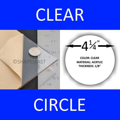 "4-1//4/"" INCH CIRCLE Clear 1//8/"" Acrylic Plexiglass Craft Round Disc Shape Plastic"