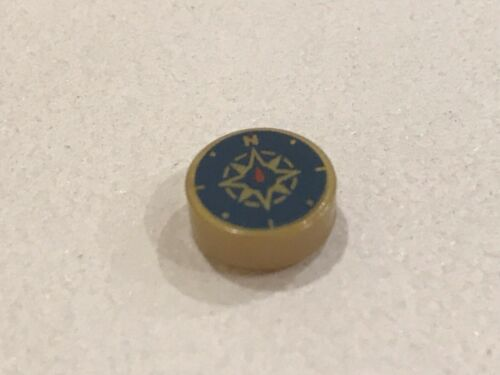 1x Lego Flat Gold 1x1 Round Tile with Dark Blue Compass NEW