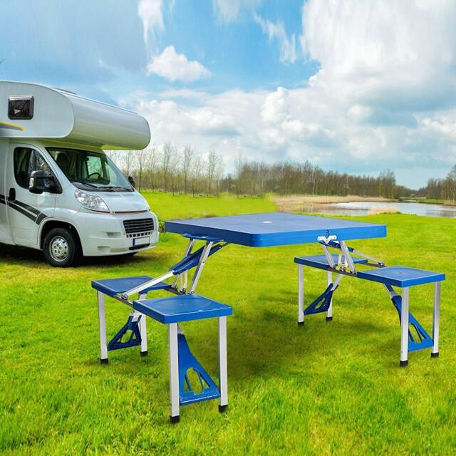 Excellent Portable Folding Outdoor Camp Suitcase Picnic Table With 4 Seats Blue Frankydiablos Diy Chair Ideas Frankydiabloscom
