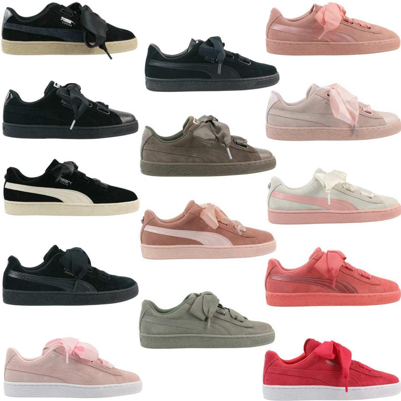 Zapatos promocionales para hombres y mujeres Puma Suede Heart SNK Jewel Bubble Jr Schuhe Sneaker Schleife Damen Mädchen