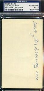 Joe-Mccarthy-Signed-Psa-dna-3x5-Index-Card-Autograph-Authentic
