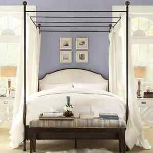 Image Is Loading Canopy Poster Bed Queen Sized W White Upholstered