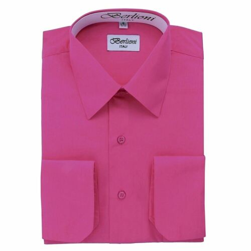 BERLIONI ITALY MEN/'S DRESS SHIRT CONVERTIBLE FRENCH CUFFS POINT COLLAR ALL SIZES