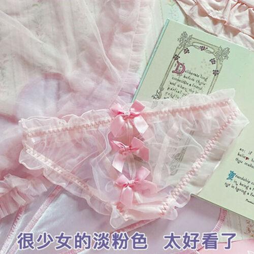 Details about  /Japanese Lolita Lace Mesh Low Waist Panties Sweet Underwear Transparent Briefs