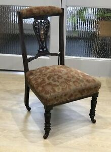 Antique-Prayer-Chair-Bedroom-Marquetry-Victorian-Red-Velvet-Nursing-Upholstery