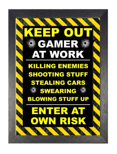 Keep Out Gamer At Work Sign Funny Geeky Hilarious Gaming Meme Picture Poster