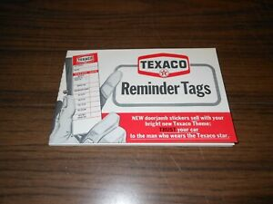 VINTAGE BOOK TEXACO OIL CAN CHANGE REMINDER TAGS STICKERS NOS.