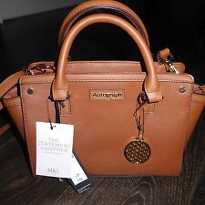 BNWT M&S AUTOGRAPH Tan Leather Trim Tote Bag with Gold Coloured Charm RRP £55.