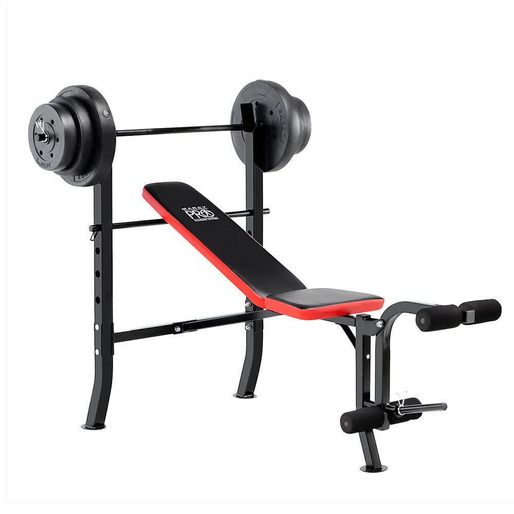 100 lb Weight Set w  Standard Adjustable Bench Flat Incline PM-2084 - Marcy Pro