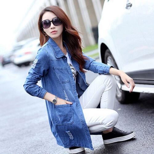 2018 New Women  Casual Long Sleeve Denim Jacket Long Jeans Coat Outwear Overcoat