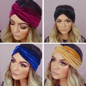 Femme-Velours-Bandanas-Sport-Yoga-Bandeau-Elastique-Turban-Serre-Tete-Cheveux-NF