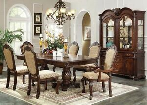 Traditional Formal Style Espresso Finish Dining Table Set
