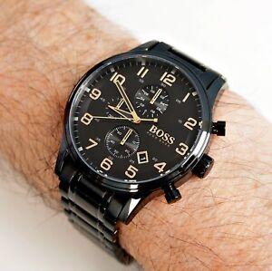 neue niedrigere Preise zahlreich in der Vielfalt Einzelhandelspreise Details zu hugo boss hb 1513275 chronograph herrenuhr schwarz gold neu