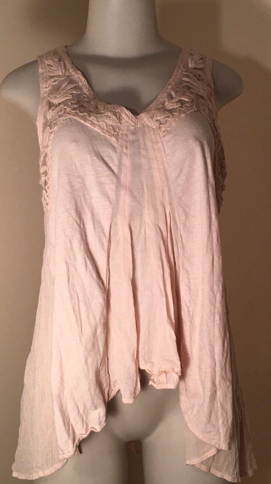 Meadow Rue  Anthropologie Light Pink Top Cotton Blend Summer Sleeveless Sz S