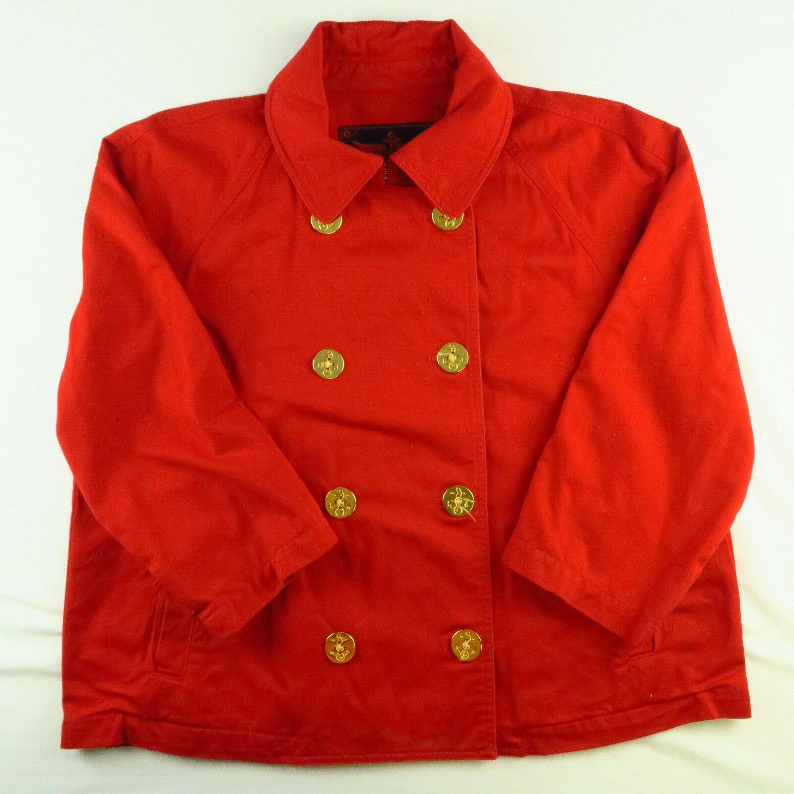 Lauren RL Red Denim/Canvas Nautical Jacket Gold Tone Buttons Women's XL Ralph