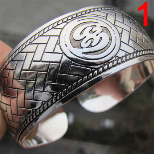 Tibétain argent plaqué éléphant Tibet Totem Bracelet Bijoux manchette large IU