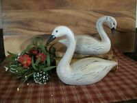 Primitive Country Resin Geese White Swan Set Of Two