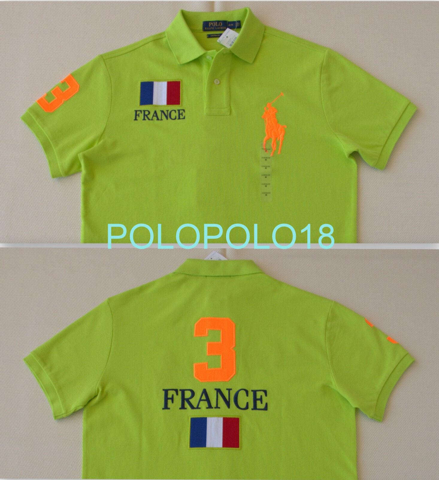 Authentic Polo Ralph Lauren France Polo Lime Cotton Shirt Custom Fit