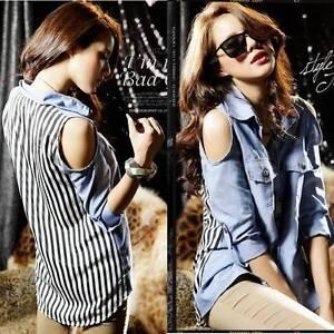 Damen-Gestreift-Chiffon-Ausgeschnittene-Schulter-Langaermlig-Kragen-Bluse-Hemd