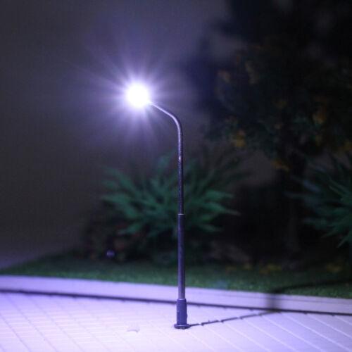 LQS06 10pcs Model Railway Train White Lamp Post Street Lights N Scale LEDs 6.2cm