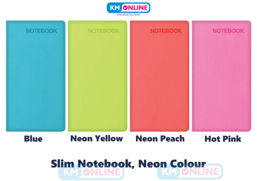 SLIM SIZE Premium Soft Touch Notebook Feint Lightly Ruled Neon Colour Hardback