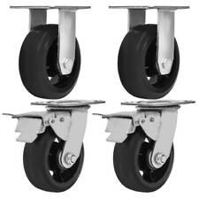 4 Pack 5 Heavy Duty Black Mold On Rubber Caster Wheels 2 Brake Amp 2 Rigid