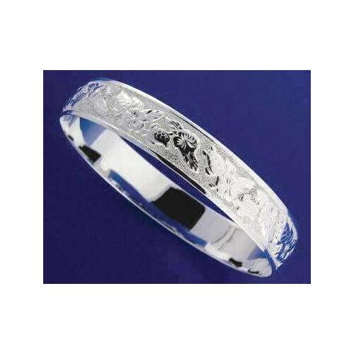 argentoo 925 Hawaiano Bracciale Rigido Ibisco Tartaruga Bordi Bordi Bordi Lisci 15MM 8433c4