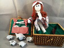 15 Piece Holiday CHRISTMAS Tea Party DOLL SET Porcelain DISHES BASKET & DOLL