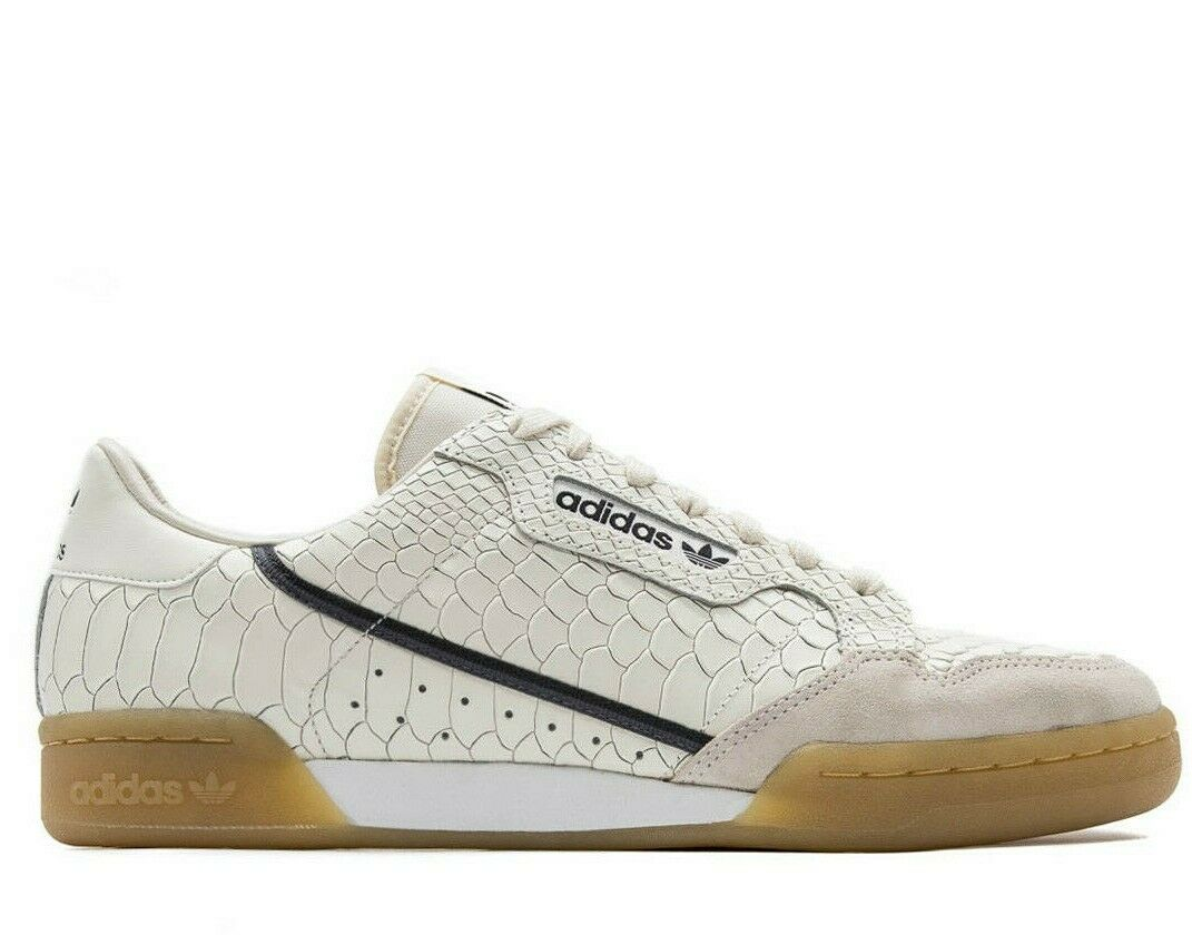 ADIDAS CONTINENTAL 80 SNAKESKIN LEATHER - WHITE   GUM - D96659 -