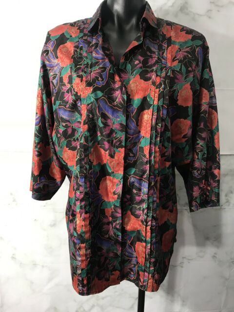 Vintage Womens Size M/L Bright FLORAL BUTTON UP BLOUSE TOP 3/4 Sleeve Collar