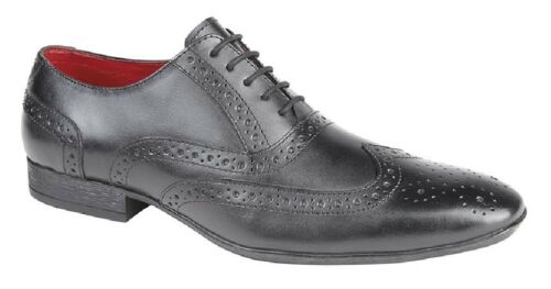 Route21 M338 Leather Brogue Oxford Classic Lace Up Formal Shoes Black Leather