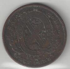 QUEBEC BANK OF CANADA, 1844, SOU (1/2 PENNY TOKEN), COPPER, KMTn18,VERY FINE