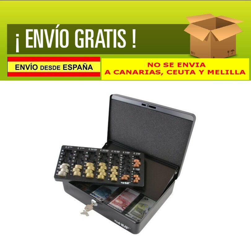 Caja Metal Guardar Dinero Billetes Monedas Bandeja Extraíble Cerradura Caudales