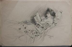 Dessin-Original-LUBIN-DE-BEAUVAIS-XIXe-Femme-Lisant-Art-Nouveau-LB8