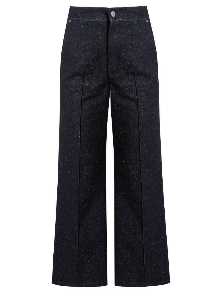 ISABEL MARANT Midnight bluee PARSLEY Crop Flare Wide Leg Jeans Pant 6-38 NEW  410