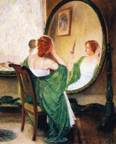 Oil painting Guy Rose The Green Mirror woman in her toilette Hand painted canvas