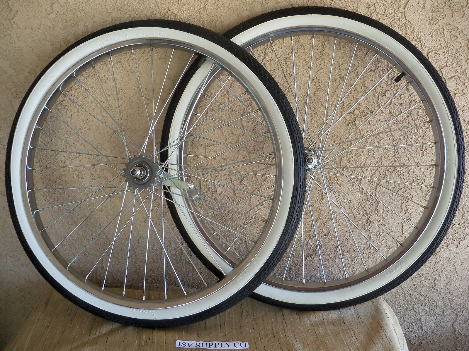 NEW 26''X 2.125  HEAVY DUTY SPOKES WHEEL SET WITH TIRES & TUBES FOR CRUISER, ETC.  convenient