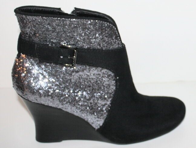 NEU Guess Damens's Glandan Wedge Ankle bootie silver  Glitter Größe 7.5