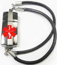 Black Leather Bracelet, Stainless Steel USB, Personal Health & Medical Alert ID