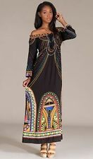 Flying Tomato Dress Long Black BOHO Hippie Summer Med NWT Vtg Look Off Shoulder
