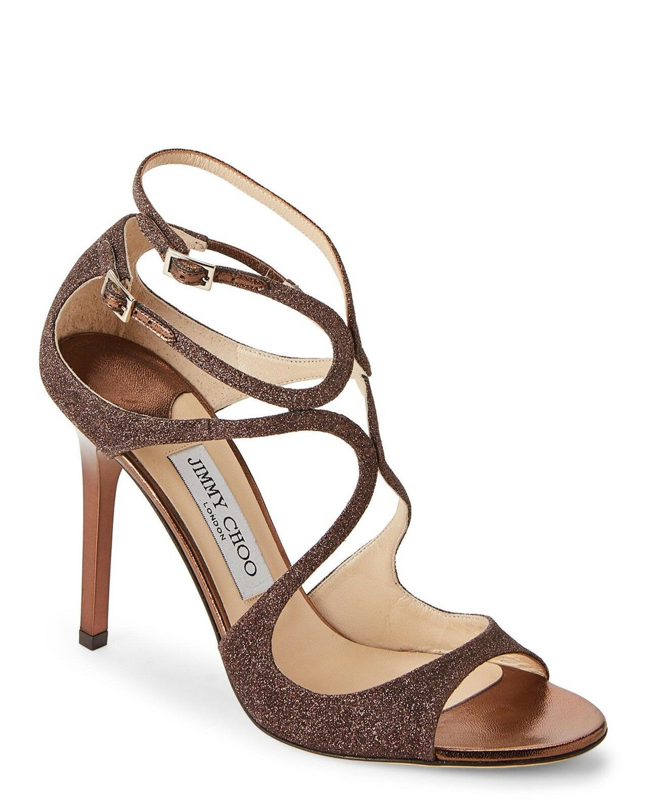 New New New In Box Jimmy Choo Lang Bronze Glitterouge Strappy Sandals Taille 37 7  895.00 070ef7