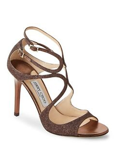bf8916cbff7a1 New In Box Jimmy Choo Lang Bronze Glittered Strappy Sandals Size 37 ...