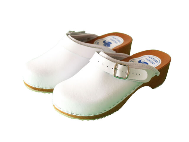 f8cb539c0d4 Womens Hand Made Clogs Ladies Wooden Sole 100 Natural Leather Upper Size  6-10 US Size 7 White Clog