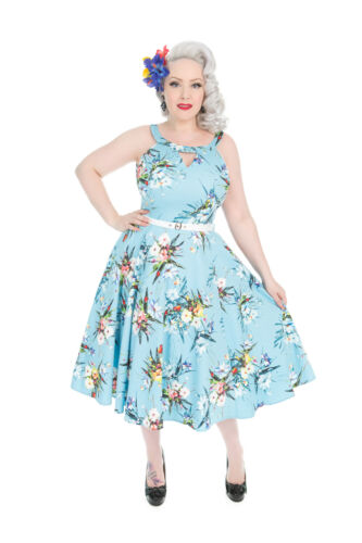 Roses 50s Cocktail Vintage Mix Rockabilly Swing Blue Floral Hearts Lizzy Plus Hx1nx