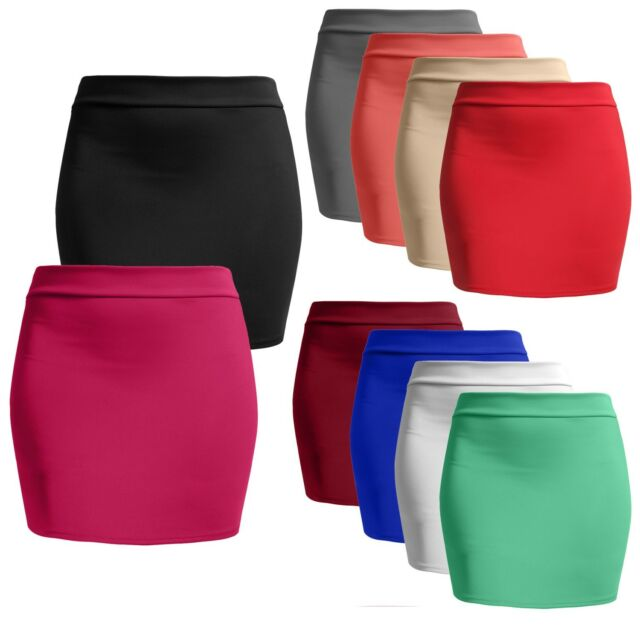 Women's Casual Basic Fitted Stretch Bodycon Plain Mini Pencil Skirt NEWSK09