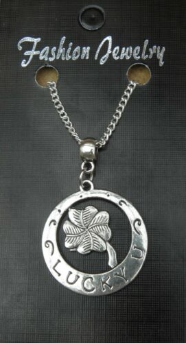 """18/"""" or 24 Inch Chain Necklace /& Four 4 Leaf Lucky Clover Pendant Charm"""