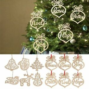 6 x christmas decor real wooden ornament xmas tree hanging pendant ornaments ebay ebay